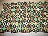 Southwest Navajo Teal Brown indian fabric window curtain topper Valance