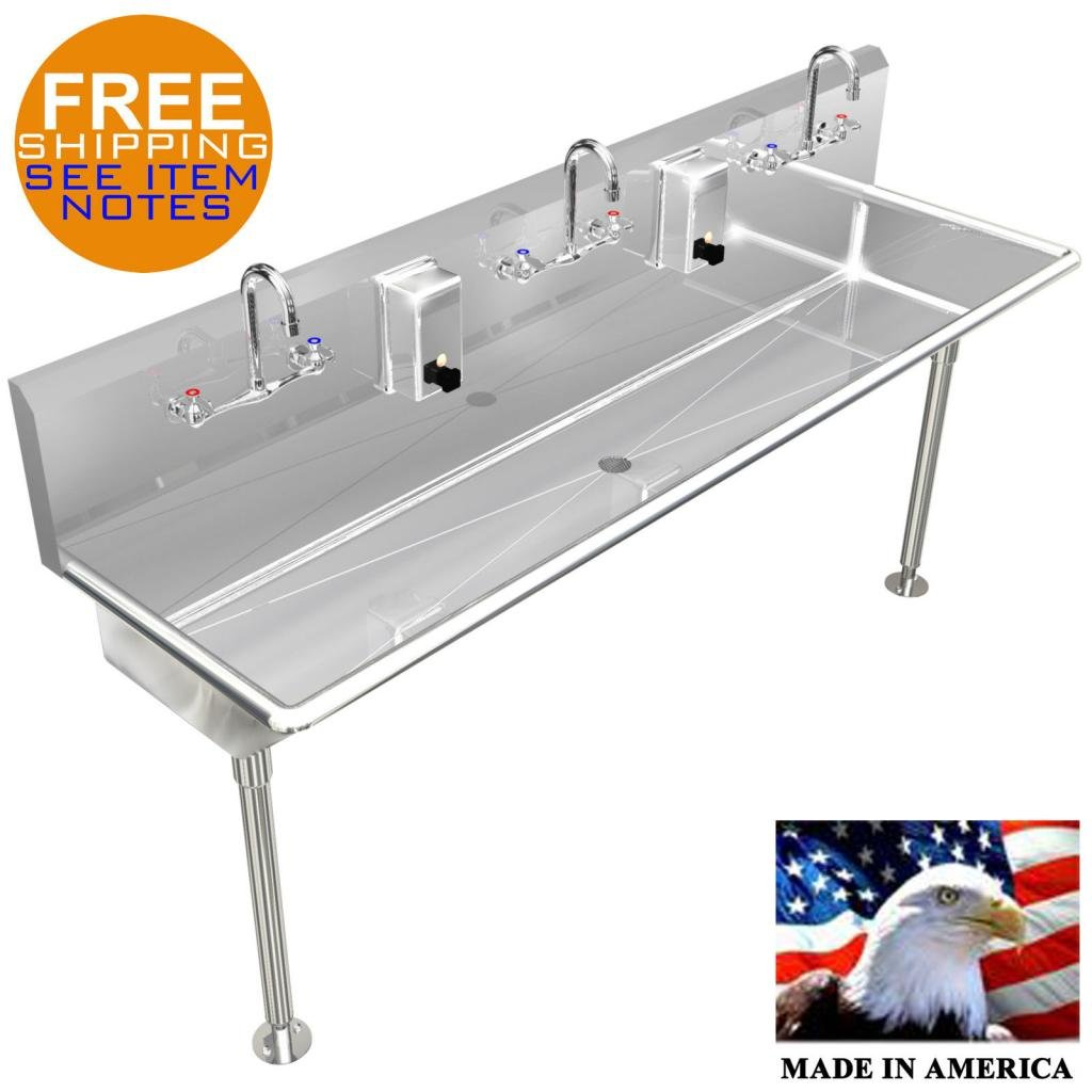 INDUSTRIAL MULTI USER, 3 PERSON, HAND SINKS 60'' 14GA HD by BSM