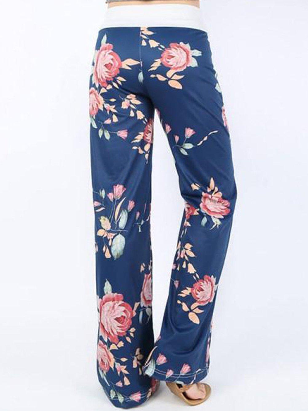 iChunhua Women's Comfy Stretch Floral Print Drawstring Palazzo Wide Leg Lounge Pants(M,Blue) by iChunhua (Image #2)