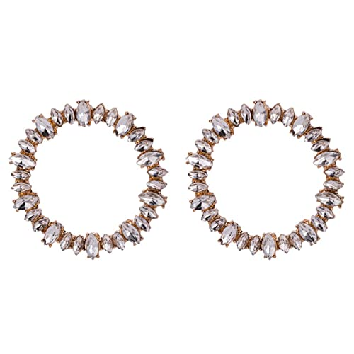 e484f262b Amazon.com: WYWT Big Crystal Shinning Hoop Earrings Stud Detailing In Gold  or Silver Statement Jewelry for Women: Jewelry
