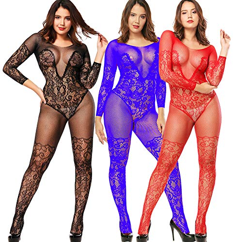 Bodystockings Plus Size Babydoll Lingerie Teddy Nightie Leotard Body Suit Stocking (3Pack-BRL)