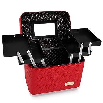 f769b4319eb9 Amazon.com : Cityeast Portable Double Tray Cosmetic Case PU Travel ...