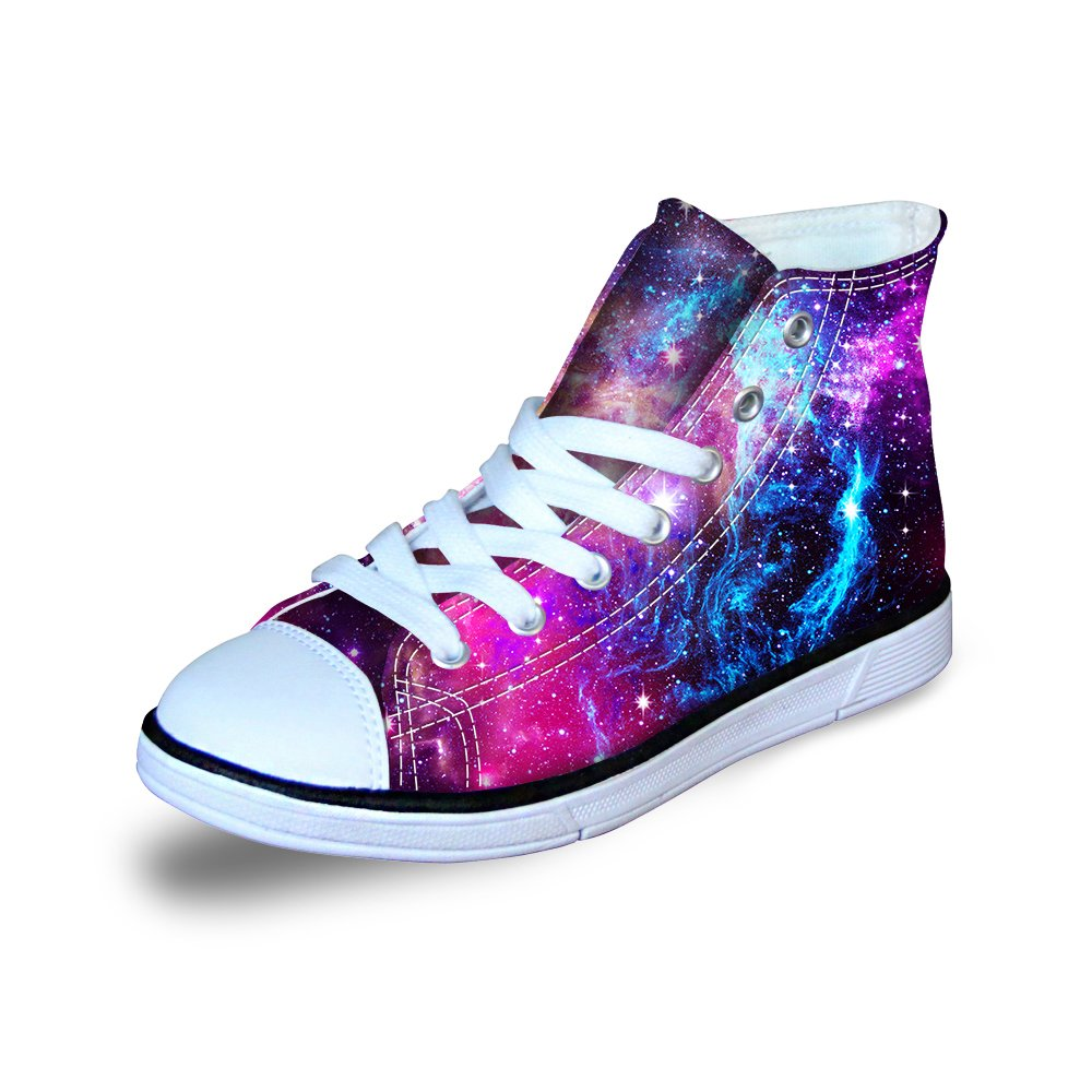 FOR U DESIGNS Fashion Purple Galaxy Print Lightweight Soft High Top Lace Up Canvas Shoes for Little Kids US 2