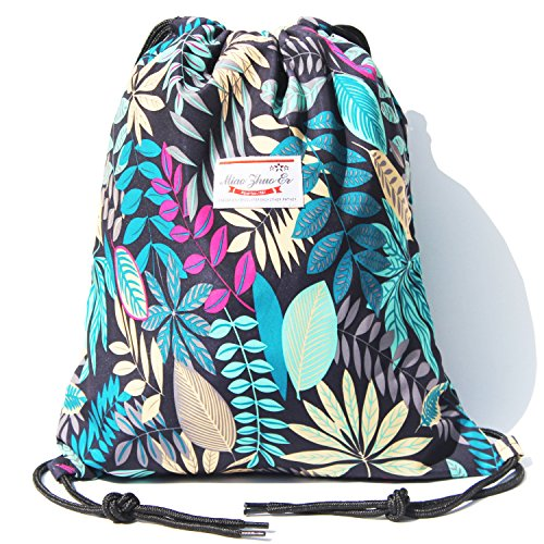 Alpaca Go Drawstring Bag Water Resistant Floral Leaf Lightweight Gym Sackpack for Hiking Yoga Gym Swimming Travel Beach (D - ()