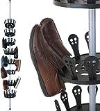 Deuba Tall Revolving 48 Pairs 8 Tier Telescopic Shoe Holder Rack Storage Shelf Stand Shelving Free  sc 1 st  Amazon UK & Shoe Storage Wheel Rack by Rakku - Silver - 74.5 x 73 x 32.5cm ...
