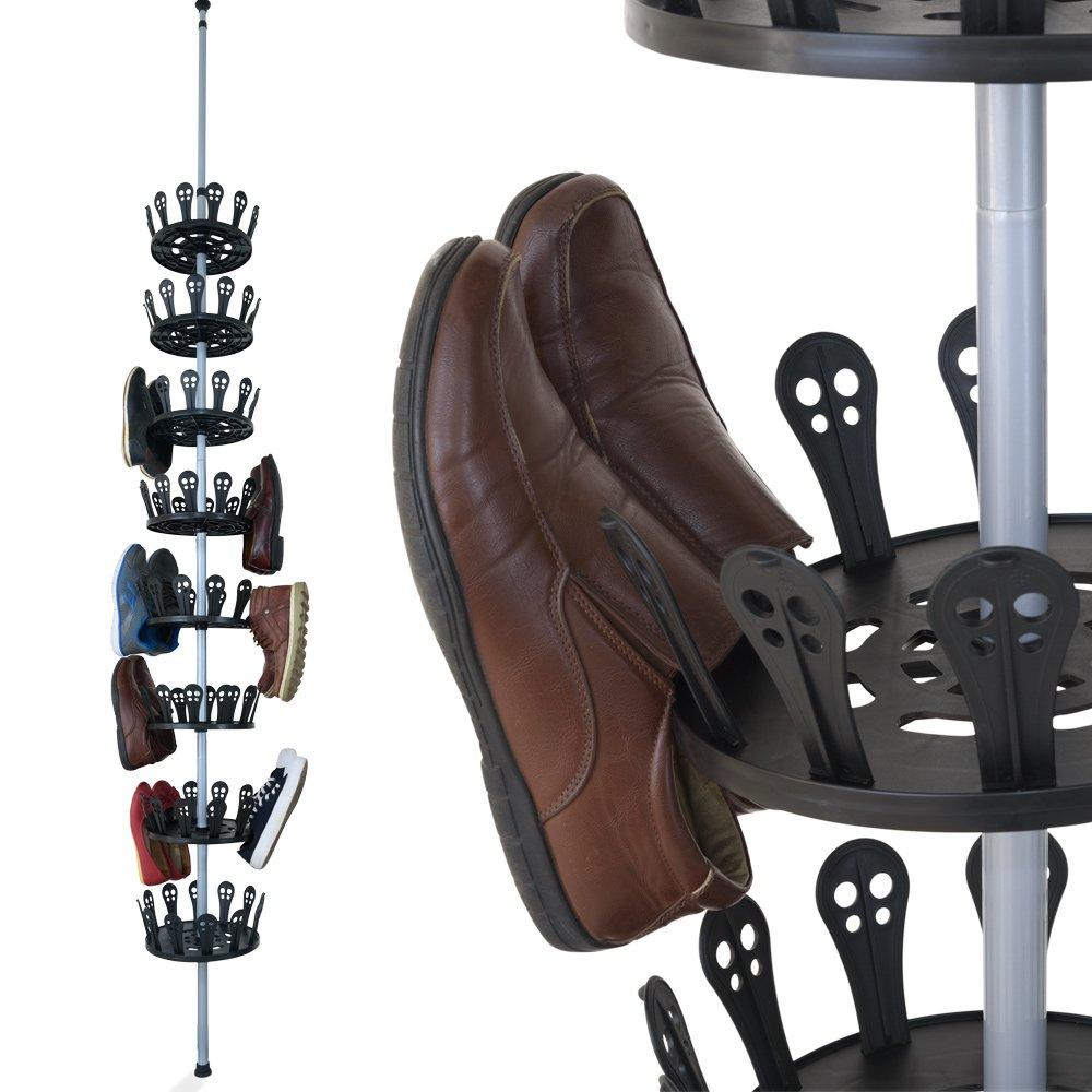 XXL Carrousel à chaussures Meuble chaussures avec tige télescopique pour 96 chaussures...