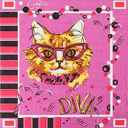 Premium Multicolored Floral Printed Decorative, Elegant, Vintage Cat Paper Hostess Napkins, 20-count ,2-Ply dinner napkins (DIVA Cat)