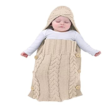 Amazon.com : MiMiXiong Baby Swaddling Blanket Newborn Knitted Sleeping Sack(Beige) : Baby