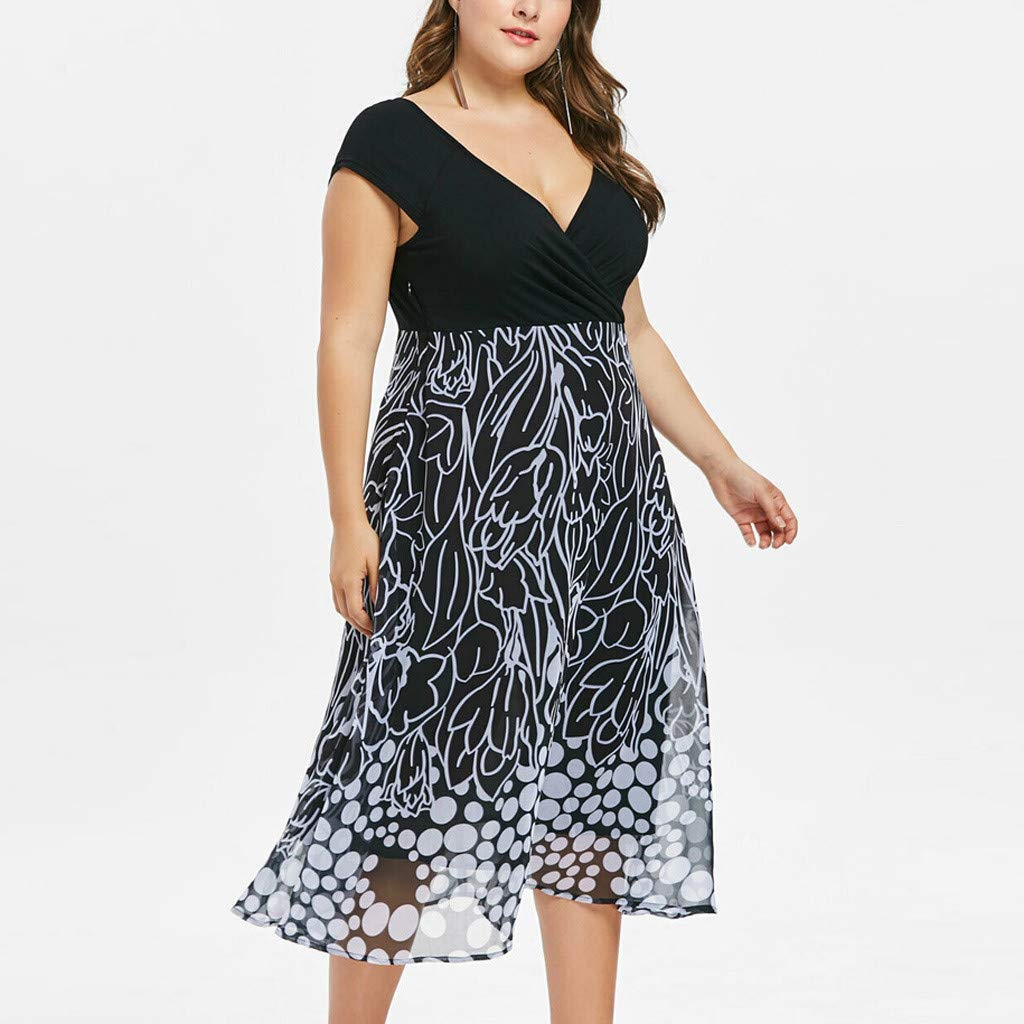 Women's Sleeveless V-Neckline Lace Top Plus Size Cocktail Party Pots Printed Swing Dress (XL, Black) by Twinsmall (Image #3)