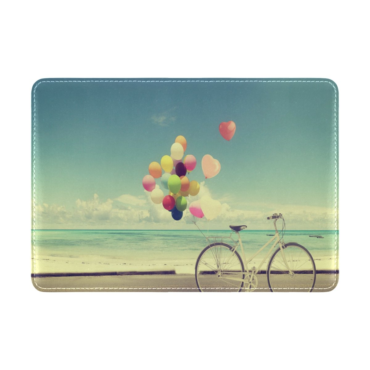 ALAZA Vintage Balloon Bicycle Beach Leather Passport Holder Cover Case Travel One Pocket