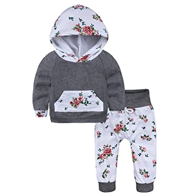058fd76d8d3e Baby Girl Boys 2pcs Set Outfit Flower Print Hoodies with Pocket Top+ ...