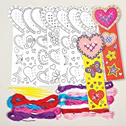 Heart Cross Stitch Bookmark Sewing Kits for Children to Make and Decorate for Valentine's and Mother's Day (Pack of 4)