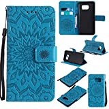 KKEIKO Galaxy S7 Edge Case, Galaxy S7 Edge Flip Leather Case [with Free Tempered Glass Screen Protector], Shockproof Bumper Cover and Premium Wallet Case for Samsung Galaxy S7 Edge (Blue)