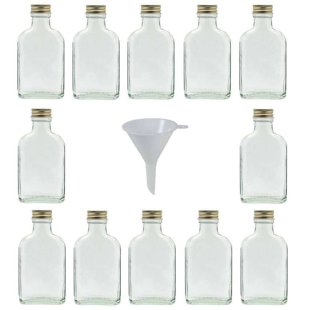 Viva-artículos de Uso doméstico - 20 Mini frascos de Vidrio 20 ML con tapón de Rosca para llenar Incluye Embudo diámetro 5 cm Viva Haushaltswaren #31056#