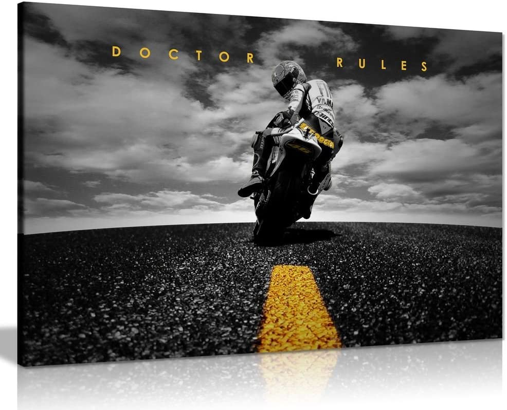36x24in A0 91x61cm Doctor Rules Yamaha Valentino Rossi MotoGP Art mural sur toile dimpression