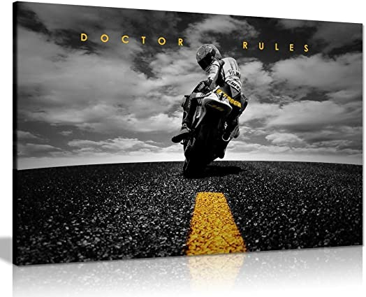 Doctor Rules Valentino Rossi Yamaha MotoGP Canvas Wall Art Picture Print 36x24in
