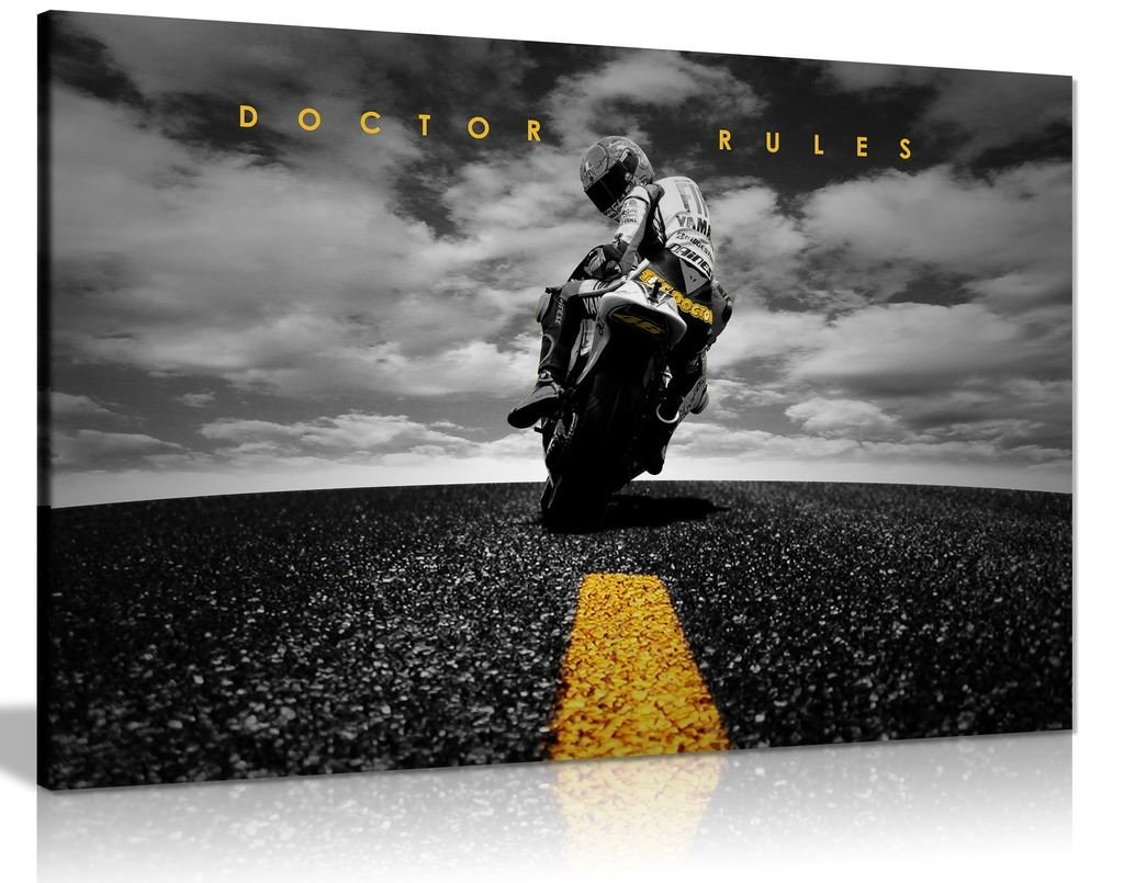 Doctor Rules Valentino Rossi Yamaha Motogp Canvas Wall Art Picture Print  (36X24)  Amazon.co.uk  Kitchen   Home e1a0098c4058
