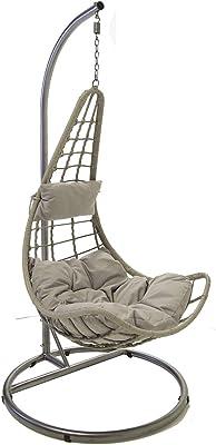 Charles Bentley Patio Outdoor Grey Rattan Hanging Swing Chair