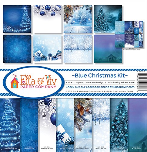 Ella & Viv by Reminisce Blue Christmas Scrapbook Collection Kit -