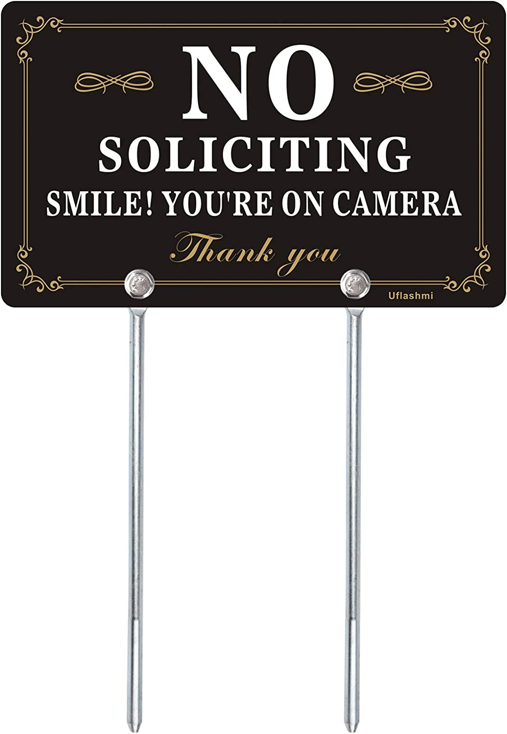 Uflashmi No Soliciting Sign for House Yard, No Soliciting Signs for Home with Stake, 13X7.87 inch
