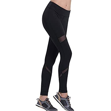 948f1bfe05e62 Image Unavailable. Image not available for. Color: ZOANO Women's Yoga Pants  Mesh Sports Workout Leggings 4 Way Stretch ...