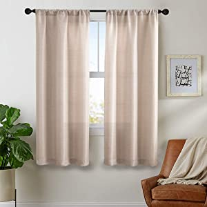 Vangao Jacquard Curtains 63 Inch Long Beige Drapes for Bedroom Window Treatment Set for Living Room Linen Textured 2 Panels, Rod Pocket