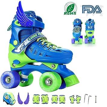 RISILAYS Patines Quad de Ajustables de en Paralelo 4 rueadas Quad Skate para niños de Adolescentes y tamaño Ajustable del Zapato para Cada estación del año: ...