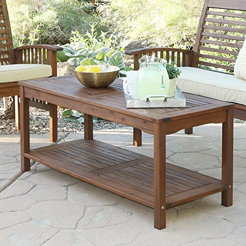 WE Furniture Solid Acacia Wood Patio Coffee Table by WE Furniture