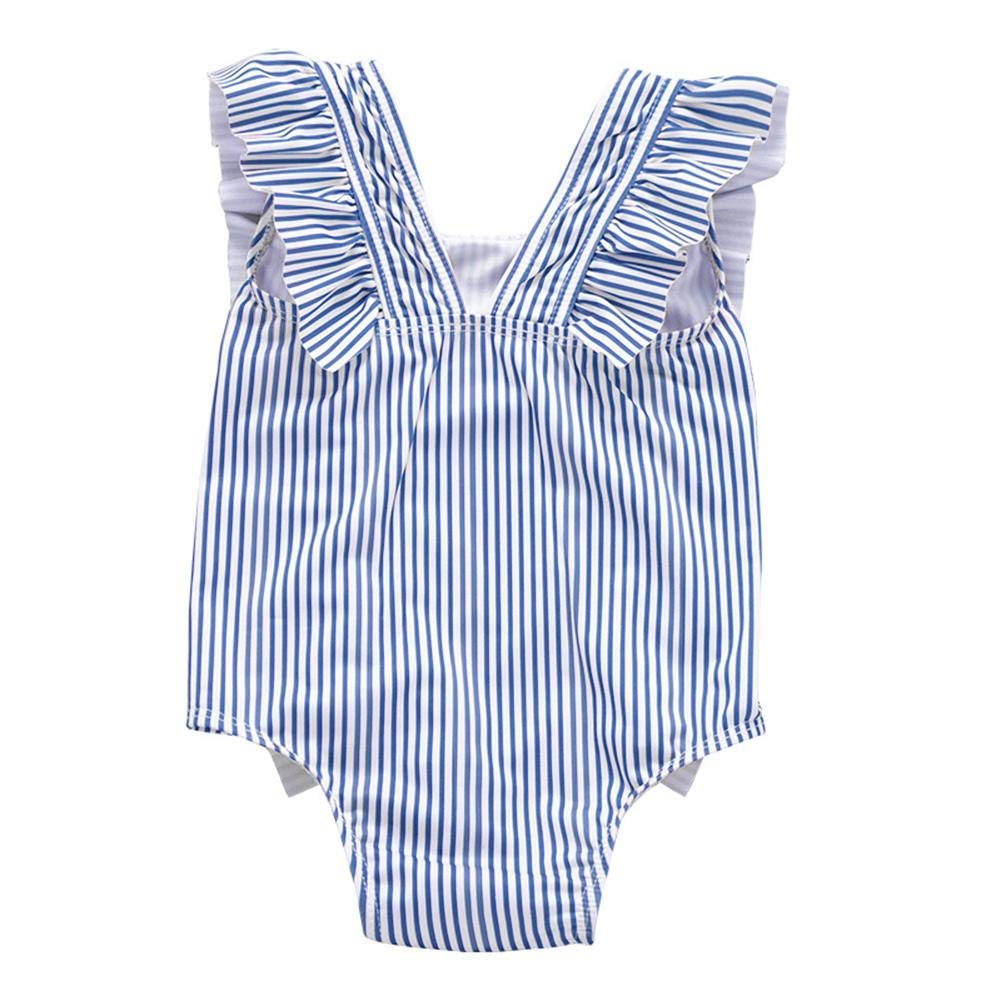 Occitop Summer One Piece Swimsuit Cute Stripe Baby Rompers Sleeveless Girl Swimwear