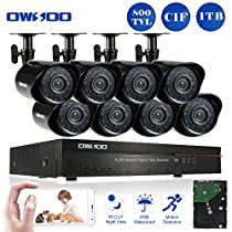 OWSOO 16CH CIF Video Security System HDMI P2P Cloud Network DVR with 1TB Hard Drive & 8Pcs Indoor/Outdoor Infrared Cameras, IR-CUT Night Version Motion Detection Email Alarm Support