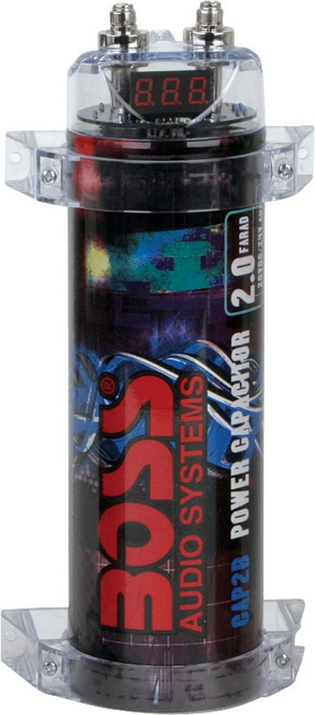 LED Black Boss CPBK2 2 Farad 20-Volt  Digital Voltage Car Audio Power Capacitor