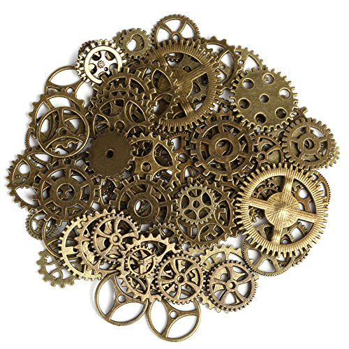 Naler 80pcs Assorted Antique Steampunk Gears Charms Pendant Clock Watch Wheel Gear for Crafting Cosplay DIY Jewelry Making Costume Accessory, (Steampunk Diy Costume)