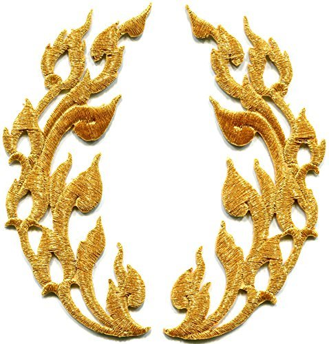 (Gold trim flames retro boho chic art deco embroidered appliques iron-on patches pair new)