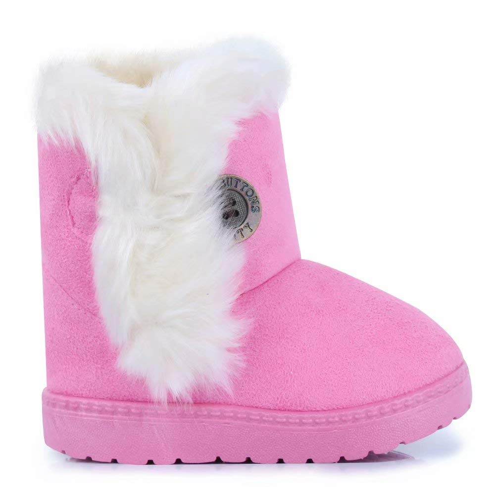 CIOR Toddler Snow Boots for Girls Boys Winter Warm Kids Button Boots Outdoor Shoes