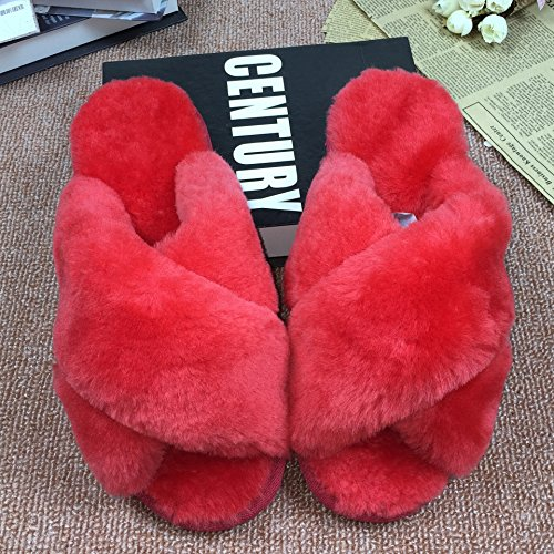 home Ladies fur in sheep fuzzy warm and MHGAO autumn red 40 at winter slippers slippers dZXUdxw