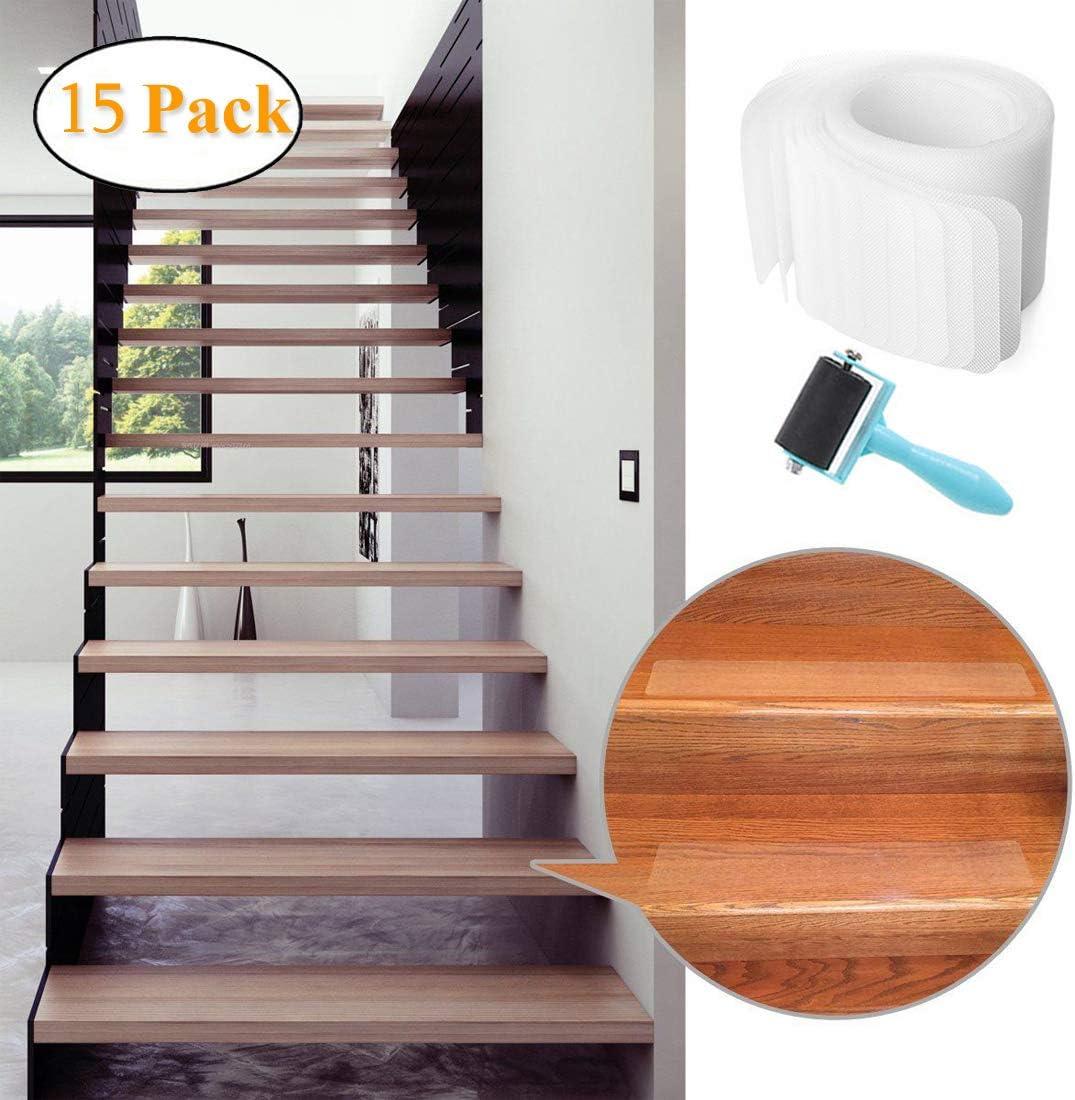 Cintas de seguridad transparentes para escaleras, escaleras, barcos, garajes, escaleras, interiores, exteriores, autoadhesivas invisibles con rodillo, 81 x 10 cm, precortadas: Amazon.es: Bricolaje y herramientas