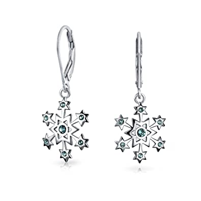 ce7b6722b Christmas Snowflake Star Drop Leverback Earrings Simulated Blue Topaz 925 Sterling  Silver 1.2 Inch: Amazon.co.uk: Jewellery