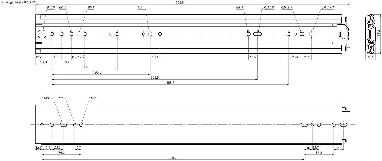 20 Capacidad de Carga 250 kg Extracci/ón total Carril de Caj/ón de JUNKER 1 par de Gu/ías de Caj/ón para Uso Industrial KV250H76 508 mm
