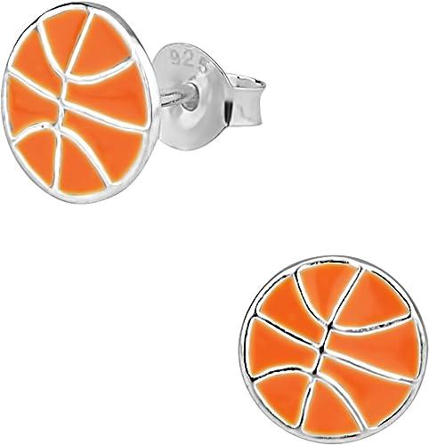 Plata de Ley 925 hipoalergénico baloncesto Stud Pendientes para ...