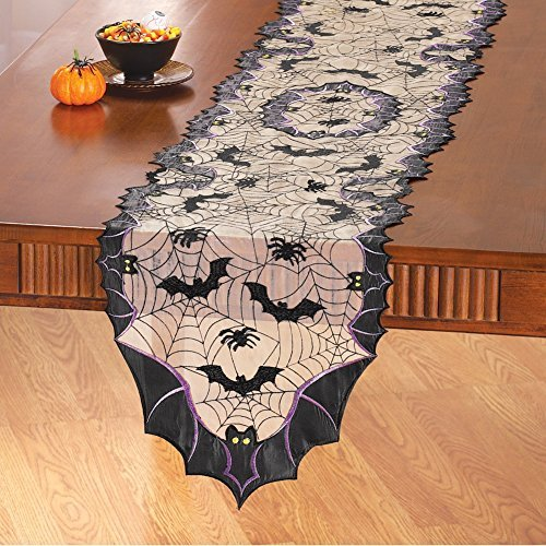 Bats and Spiders Halloween Table Linens, Runner]()