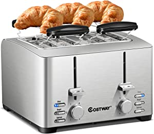 COSTWAY 4 Slice Toaster Best Prime Rated, Stainless Steel Bread Toasters with 6 Bread shade Settings and 2 Warming Rack, Defrost/Reheat/Cancel Function, Extra Wide Slots, Removable Crumb Tray, 1500W