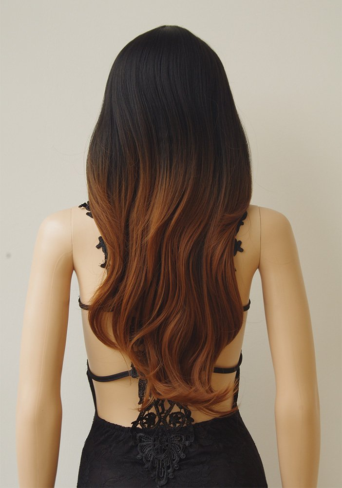 28''/70cm Brown Ombre Long Cosplay Wig with Bangs 2 Tone Color Natural Wave Heat Resistant Synthetic Costume Wigs Dyeing Color Curly Wavy Party Dress,Black to Brown by Sexybaby (Image #6)