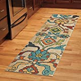 Rugs/ Runner Rug, Southwestern Style Indoor Bright Color Floral Dharan Multi Polypropylene Entryway Runner Stain Resistant (2'3 x 8') 357875