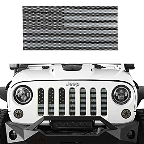 5ed1b5b856b7 Hooke Road Front US American Flag Jeep Grille Insert Old Glory for  2007-2018 Jeep