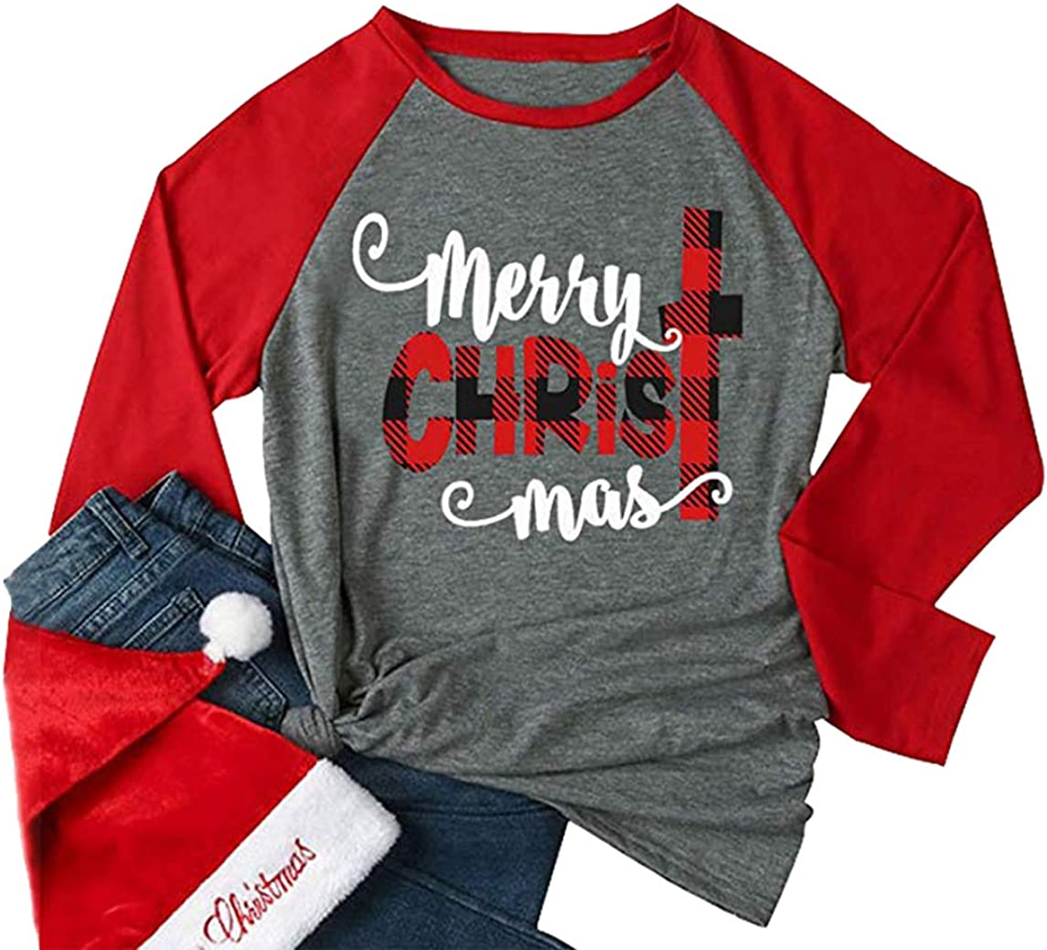 Women Merry Christmas T Shirt Letterrs Printed Funny Raglan 3/4 Sleeve Splicing Tees Top