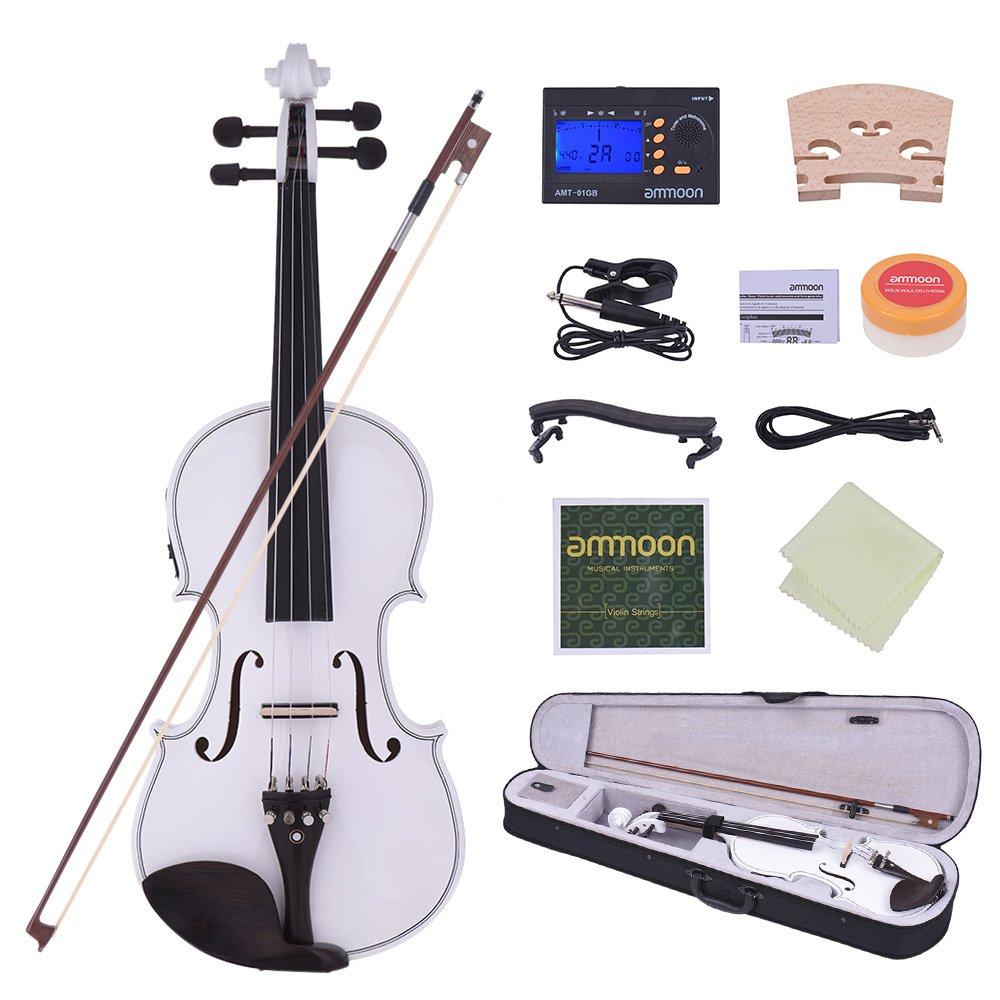 ammoon 4/4 Acoustic Electric Violin Fiddle Solid Wood Body Ebony Fingerboard Pegs Chin Rest Tailpiece with Bow Hard Case Tuner Shoulder Rest Rosin Extra Strings & Bridge 1