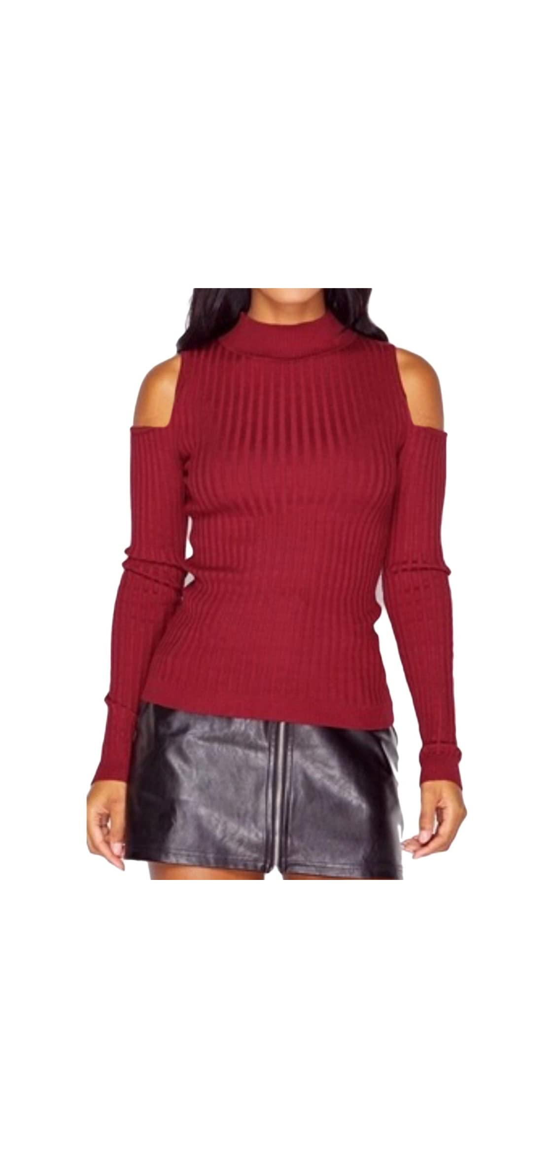 Womens Casual Autumn Cold Shoulder Sweater Kitted Jumper