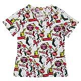 CHARACTER ARTS Inc Women's Dr. Seuss The Grinch Stole Christmas 3XL Medical Scrub Top Shirt