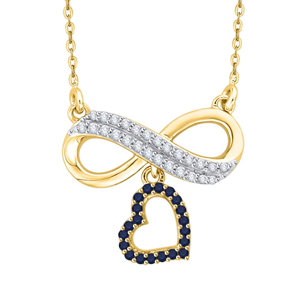 KATARINA Prong Set Diamond and Sapphire Infinity Heart Pendant Necklace in Gold or Silver 1//6 cttw, I-J, I1-I2