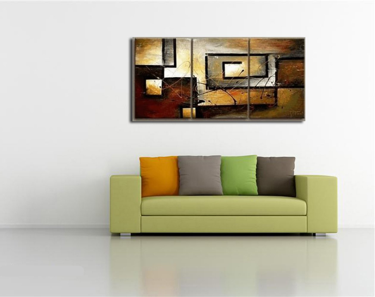 Amazon.com: Mon Art 100% Hand Painted Oil Painting Abstract Art Large  Modern Art 3 Piece Wall Art Canvas Art for Home Decoration  (UnStretch/UnFrame): ...